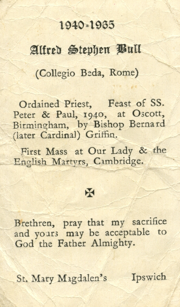 Memorial prayer card for Fr Bull's 25th anniversary